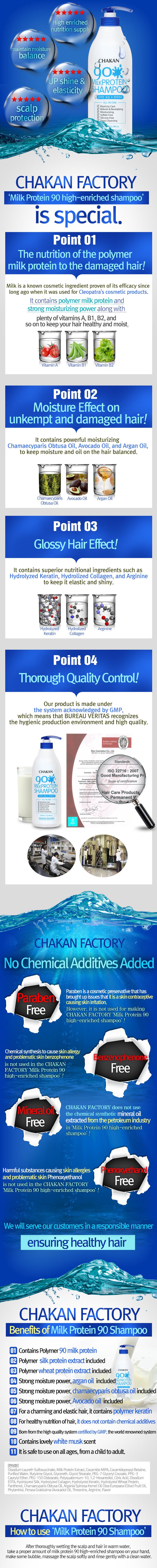 Descripción larga del Chakan Factory 90% Milk Protein Shampoo