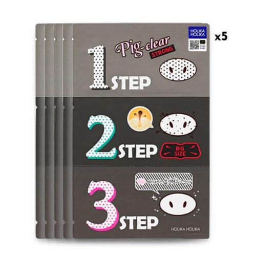 Holika Holika Pig Nose Clear Black Headh 3 Step Kit Strong 1-2